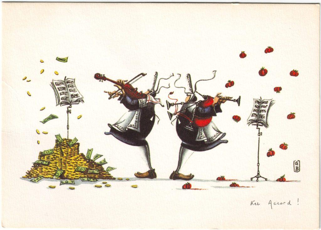 """Indexation : Bretonnes au violon et biniou##Légende """"Ker accord !""""##Epoque : Moderne##Propriété : Des-065-Roy"""