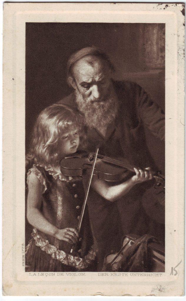"""Indexation : Fillette au violon##Légende : """"La leçon de violon""""##""""Der erste unterricht""""##Editeur : Série 1778##Epoque : Ancienne##Propriété : Des-068-mdv"""