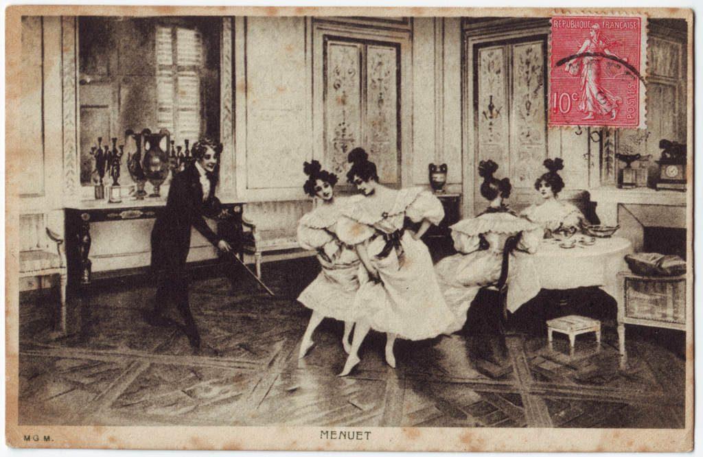 """Indexation : Violoniste et danseuses##Légende : """"Menuet""""##Epoque : Ancienne##Propriété : Des-069-Roy"""