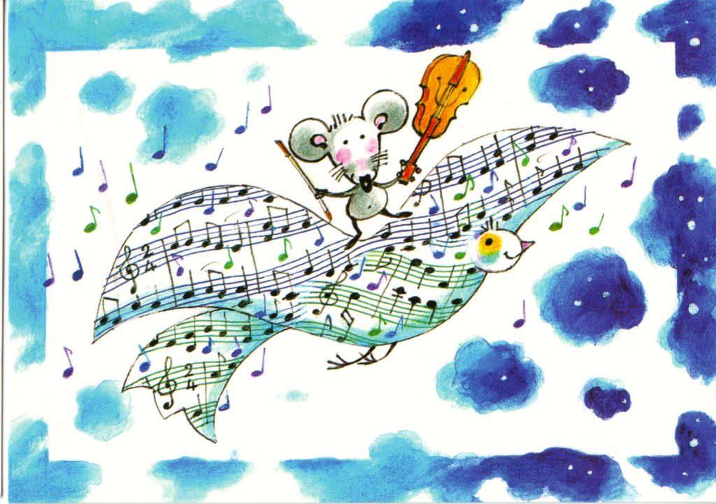 Indexation : Souris au violon sur un oiseau##Epoque : Moderne##Propriété : Des-073-Roy
