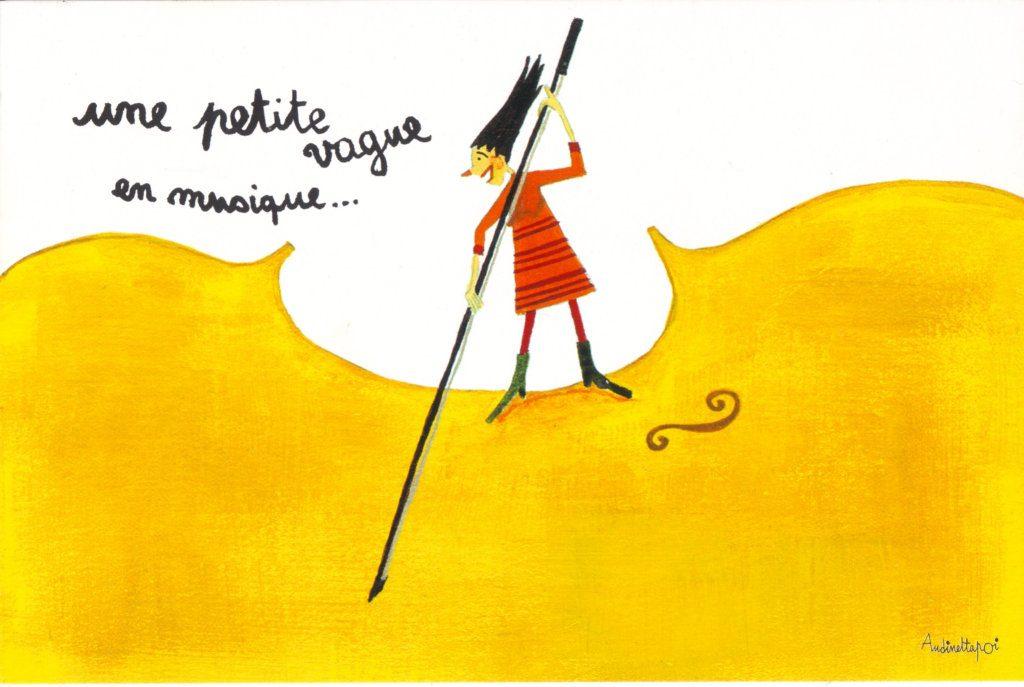 """Indexation : Sur un violon##Légende : """"Une petite vague en musique""""##Auteur : Andinettapoi##Epoque : Moderne##Propriété : Des-077-Roy"""