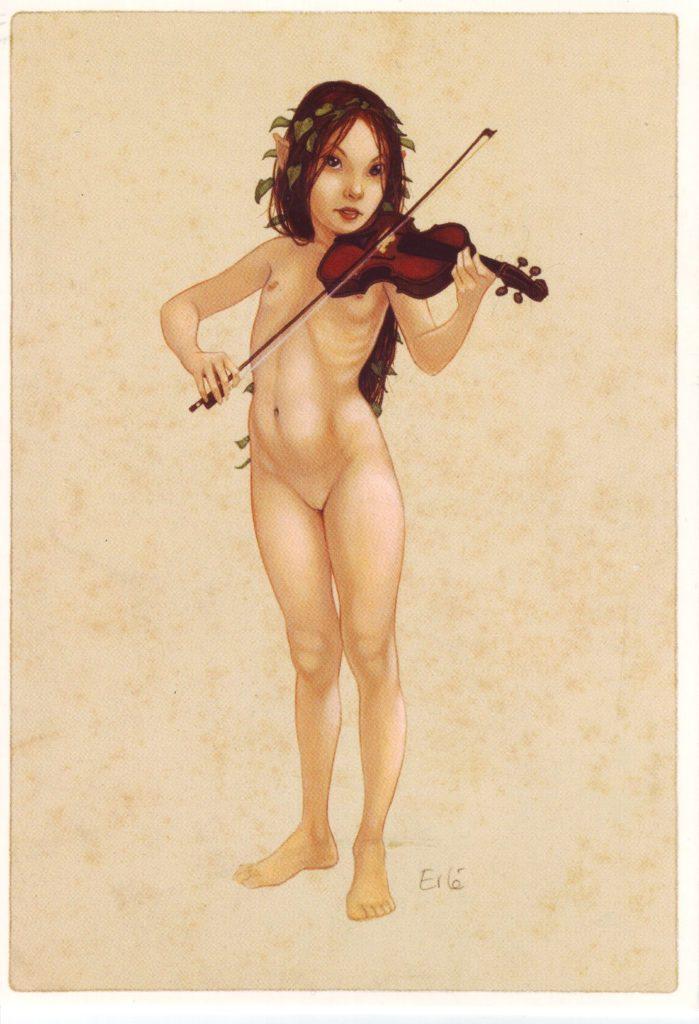 Indexation : Elfe au violon##Auteur : Erlé##Epoque : Moderne##Propriété : Des-088-Roy