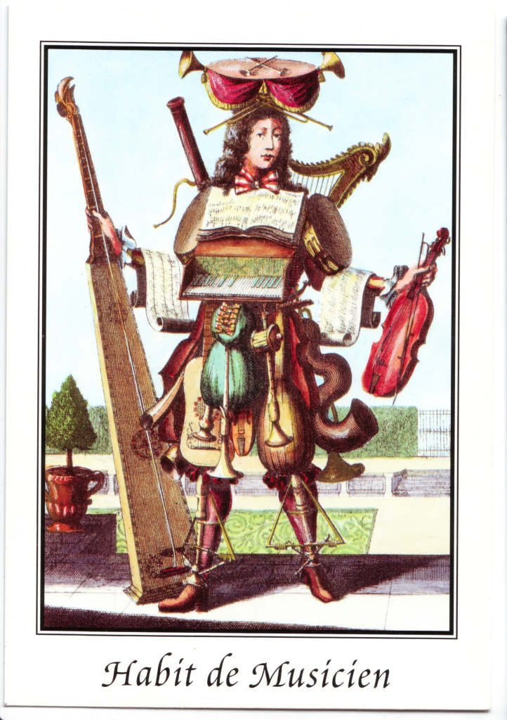"""Indexation : Homme orchestre##Légende : """"Habit de musicien""""##Epoque : Ancienne##Propriété : Des-092-Roy"""