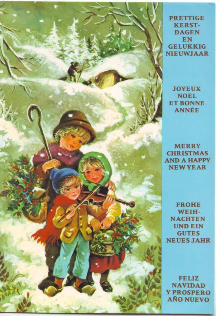 """Indexation : Enfant au violon""""""""Légende : """"Joyeux Noël et Bonne Année""""##Epoque : Moderne##Propriété : Des-094-Roy"""