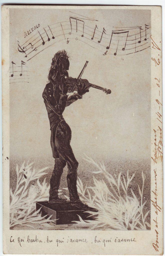 Indexation : Violoniste##Date : 1902 (manuscrit)##Epoque : Ancienne##Propriété : Des-095-Roy