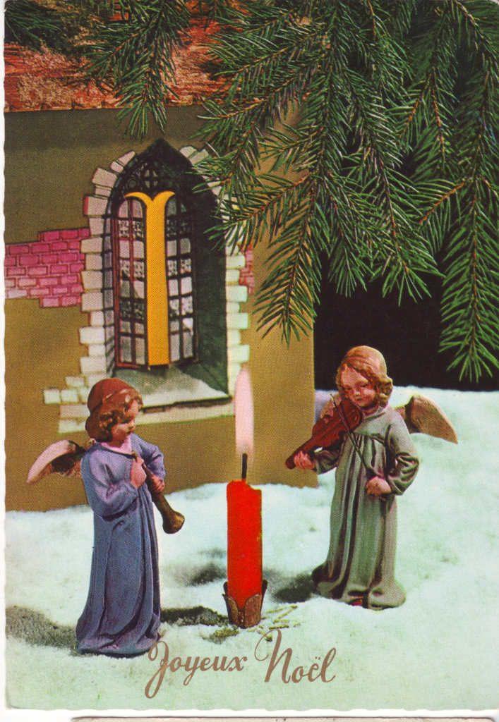 Indexation : Angelot au violon ##Légende : Joyeux Noël##Epoque : Ancienne##Propriété : Des-096-Roy