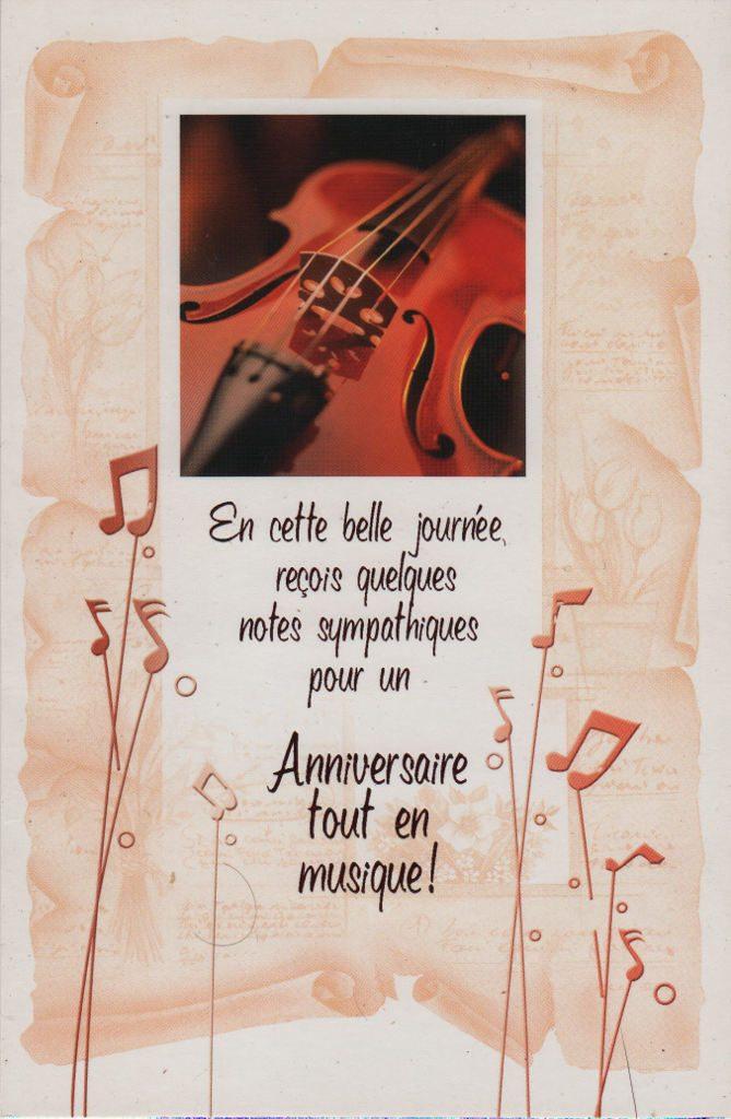 """Indexation : Violon et tutu##Légende : """"En cette belle journée reçois##Quelques notes sympathiques##Pour un anniversaire tout en musique""""##Epoque : Moderne##Propriété : Fan-022-mdv"""