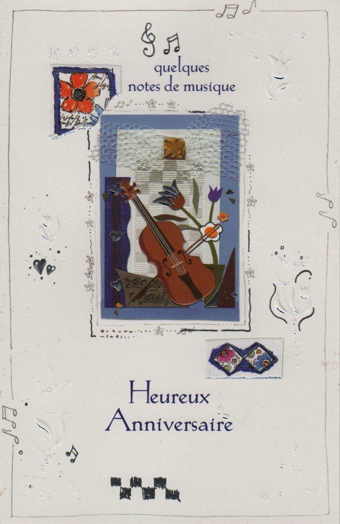 """Indexation : Violon et fleurs##Légende : """"Quelques notes de musique##Heureux anniversaire""""##Epoque : Moderne##Propriété : Fan-023-mdv"""