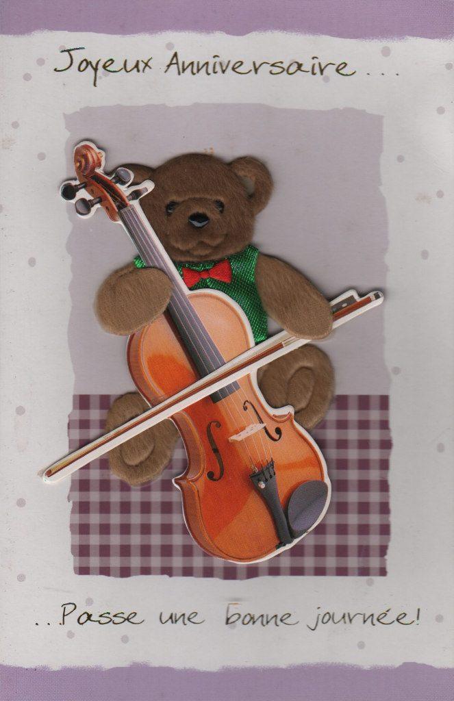 """Indexation : Ours et violon##Légende : """"Joyeux anniversaire##Passe une bonne journée""""##Epoque : Moderne##Propriété : Fan-024-mdv"""