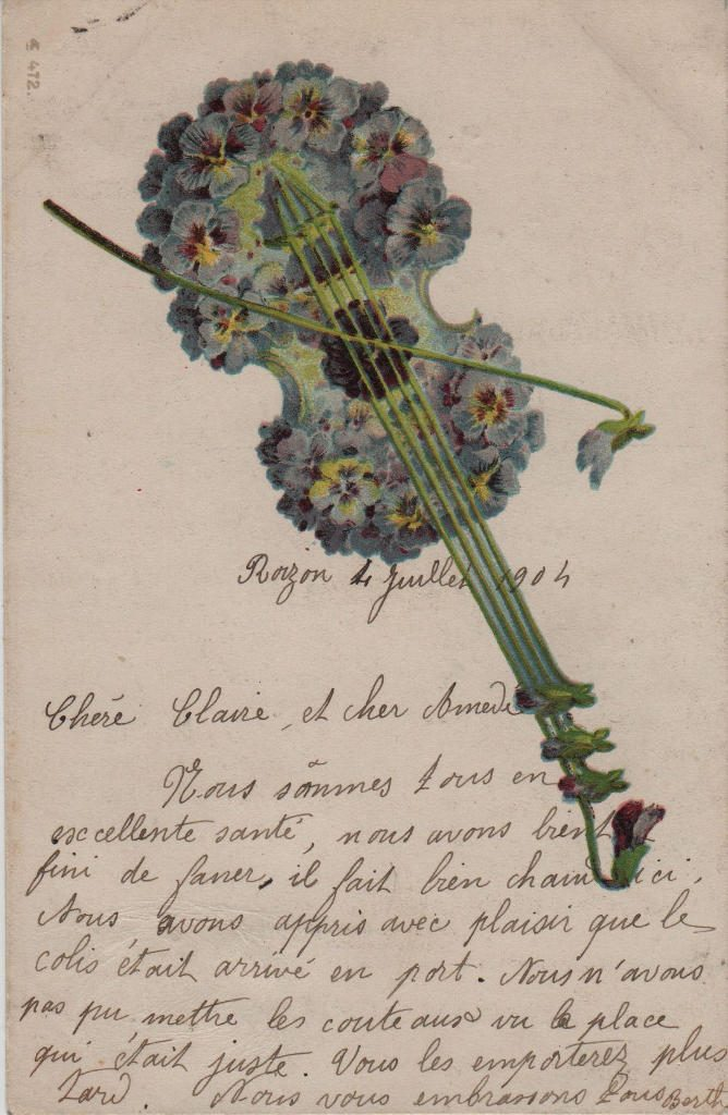 Indexation : Violon floral##Date : 1904 (manuscrit)Epoque : Moderne##Propriété : Fan-028-mdv