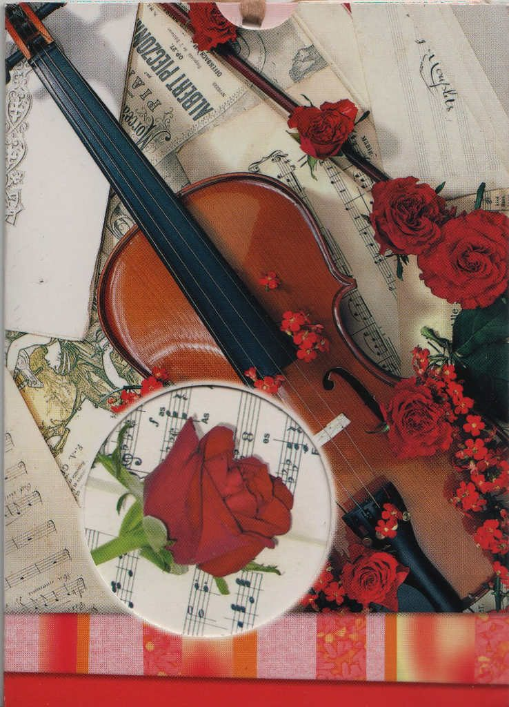 Indexation : Violon, roses, partitions##Epoque : Moderne##Propriété : Fan-030-Roy