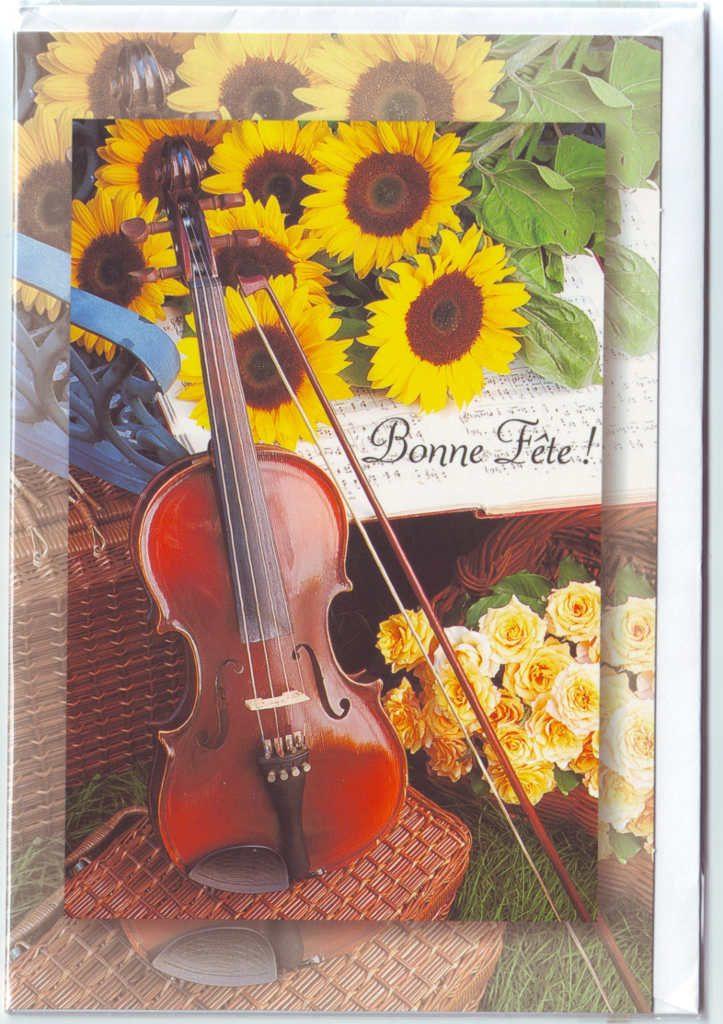 """Indexation : Violon##Légende : """"Bonne fête !""""##Epoque : Moderne##Propriété : Fan-037-Roy"""