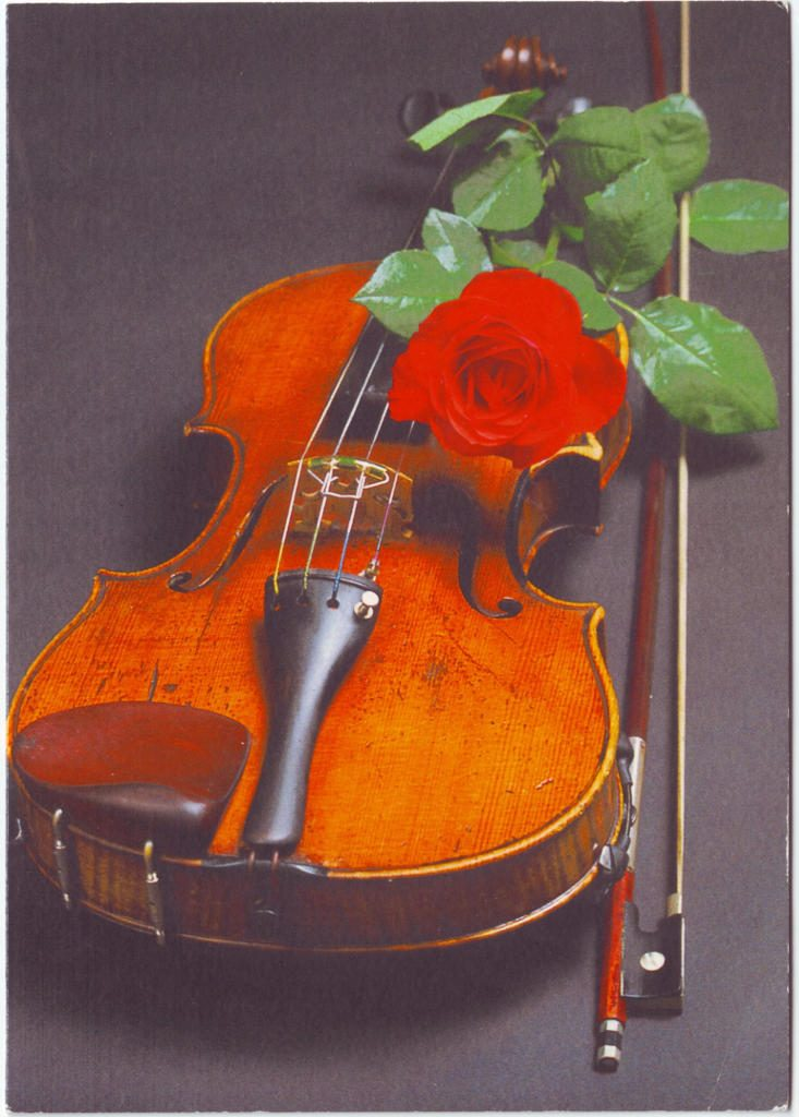 Indexation : Violon, roses##Epoque : Moderne##Propriété : Fan-043-Roy