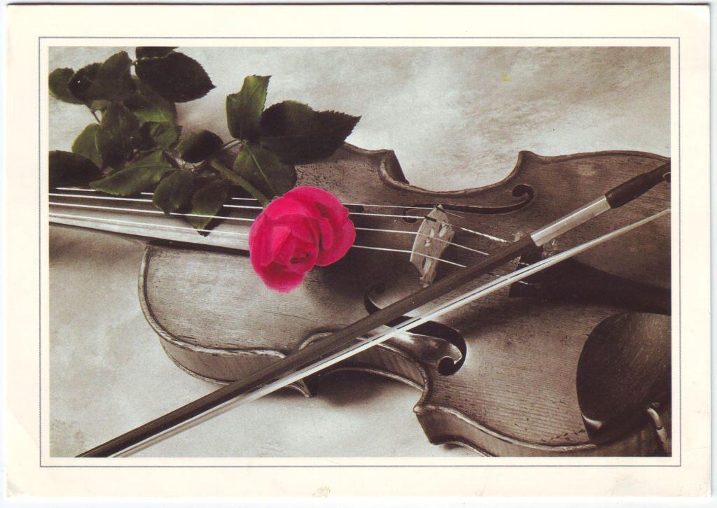 Indexation : Violon, roses##Epoque : Moderne##Propriété : Fan-044-Roy