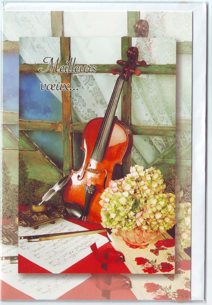 Indexation : Violon, partitions, fleurs##Epoque : Moderne##Propriété : Fan-045-Roy