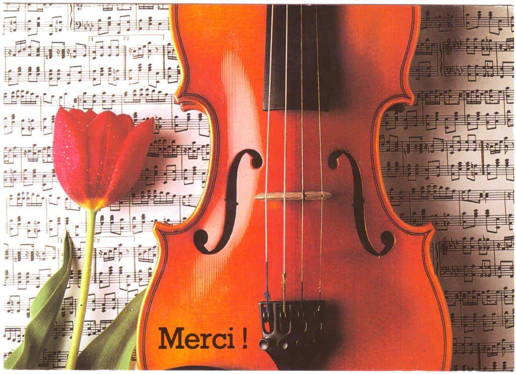 """Indexation : Violon, coquelicot, partition##Légende : """"Merci""""##Epoque : Moderne##Propriété : Fan-064-Roy"""