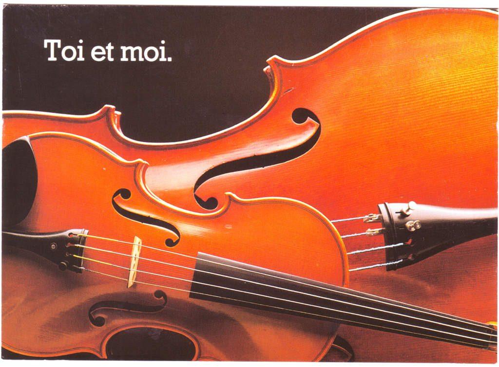 """Indexation : Deux violons##Légende : """"Toi et moi""""##Epoque : Moderne##Propriété : Fan-067-Roy"""