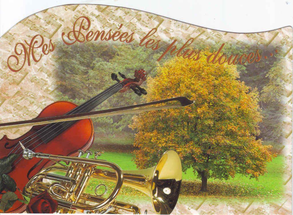 """Indexation : Violon, trompette, automne##Légende : """"Mes pensées les plus douces""""##Epoque : Moderne##Propriété : Fan-068-Roy"""