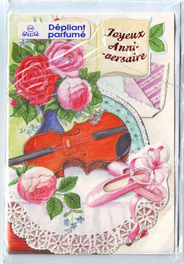 """Indexation : Violon, roses, chaussons##Légende : """"Joyeux Anniversaire""""##Epoque : Moderne##Propriété : Fan-078-Roy"""