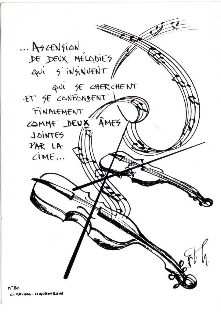 """Indexation : Deux violons##Légende : """"Ascension de deux mélodies##qui s'insinuent qui se cherchent##et se confondent finalement##comme deux âmes jointes par la cime.""""## Clarisses (?), n° 80 ##Epoque : Moderne##Propriété : Fan-083-mdv"""