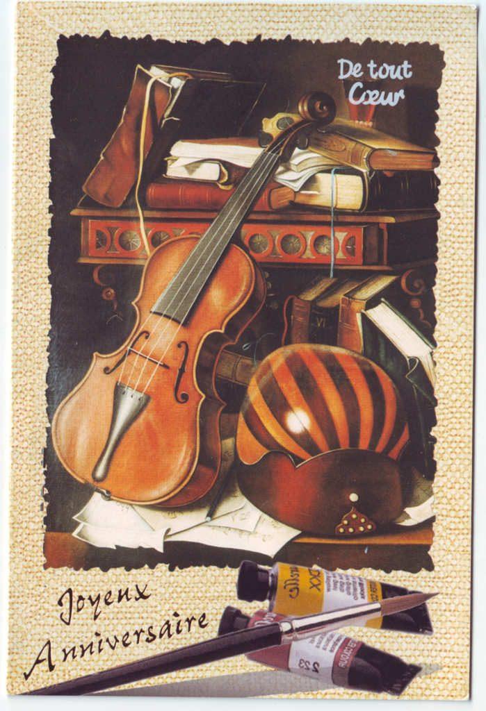 """Indexation : Violon, luth, livres, etc.##Légende : """"De tout coeur, Joyeux Anniversaire""""##Epoque : Moderne##Propriété : Fan-087-Roy"""