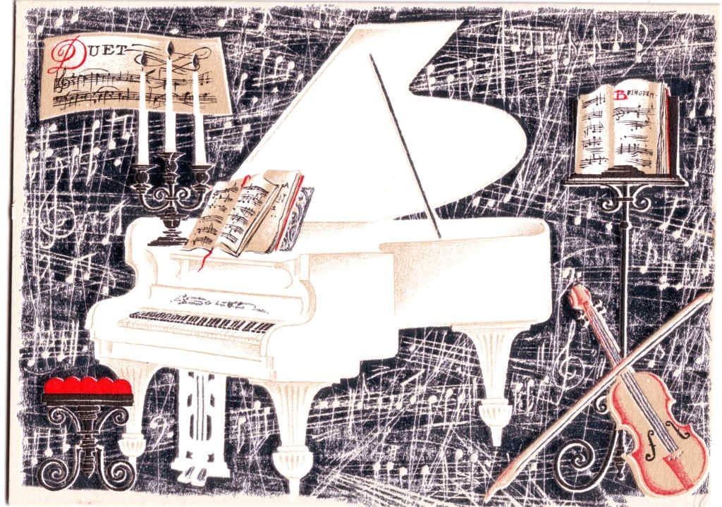Indexation : Violon, piano, partitions##Epoque : Moderne##Propriété : Fan-094-Roy