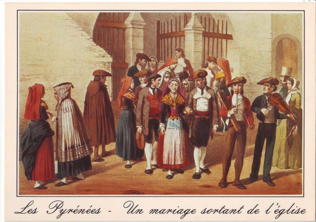 Indexation : Pyrénées, un mariage sortant de l'église##Epoque : Ancienne##Propriété : Folk-031-Roy