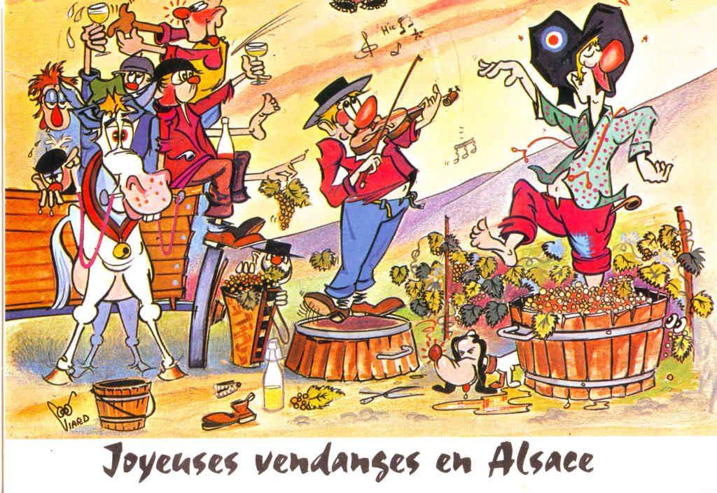 """Indexation : """"Joyeuses vendange en Alsace""""##Editeur : Viard##Epoque : Moderne##Propriété : Folk-042-Roy"""