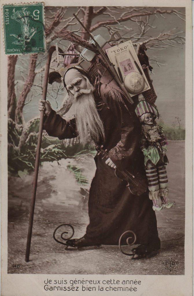 """Indexation : Père Noël violoniste##Légende : """"Je suis généreux cette année,##Garnissez bien la cheminée.""""##Editeur : E. L. D.##Epoque : Ancienne##Propriété : Por-009-mdv"""