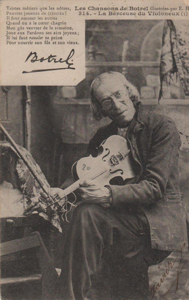 """Indexation : Violoniste##Légende : """"Les chansons de Botrel illustré par E. H.##314 – La Berceuse du Violoneux""""##Editeur : Breiz EH##Epoque : Ancienne##Propriété : Por-011-mdv"""