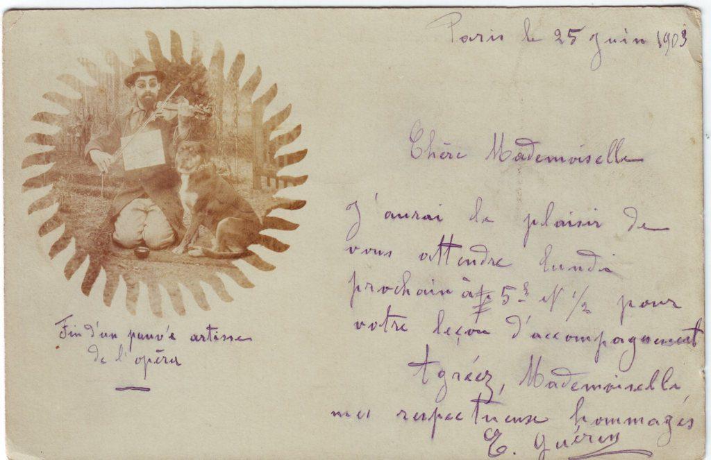 Indexation : Aveugle violoniste##Date : 1903 (manuscrit)##Epoque : Ancienne##Propriété : Por-030-Roy