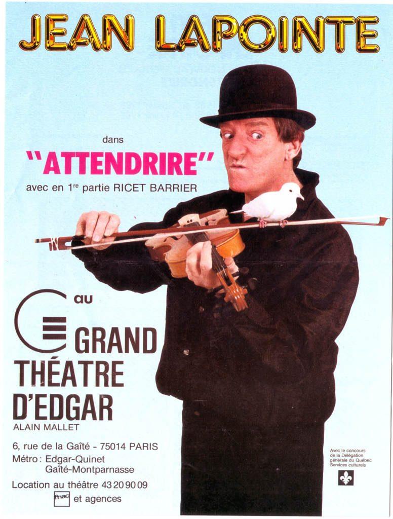 """Indexation : Affiche spectacle##Légende : """"Jean Lapointe dans attendrire""""##Epoque : Moderne##Propriété : Pub-010-Roy"""