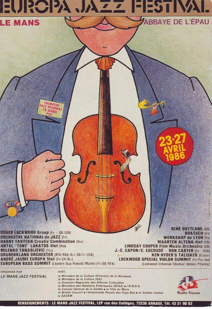 """Indexation : Affiche festival##Légende : """"Europa Jazz Festival, Le Mans""""##Epoque : Moderne##Propriété : Pub-020-Roy"""