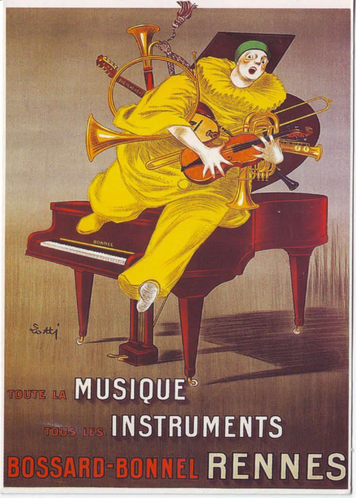 """Indexation : Affiche magazin##Légende : """"Toute la musique, tous les instruments,##Bossard-Bonnel, Rennes""""##Epoque : Moderne##Propriété : Pub-021-Roy"""