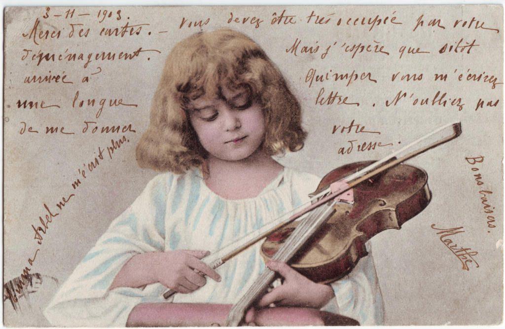 Indexation : Fillette au violon##Date : 1903 (manuscrit)##Epoque : Ancienne##Propriété : Série19,03-Roy